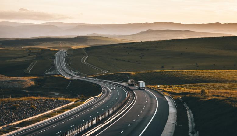 DOT trucks on the highway