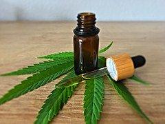 oil bottle and dropper on marijuana leaf