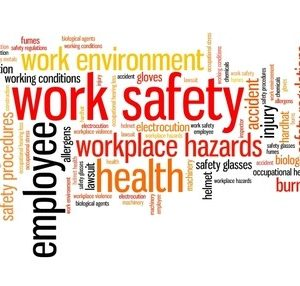 random word art including work safety employee workplace hazards health safety regulations