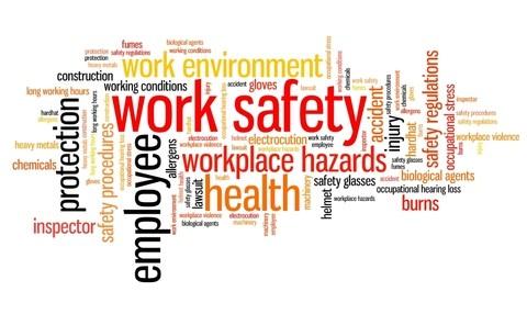 random word art including work safety employee workplace hazards health safety regulations