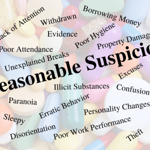 Reasonable Suspicion words on top of pills